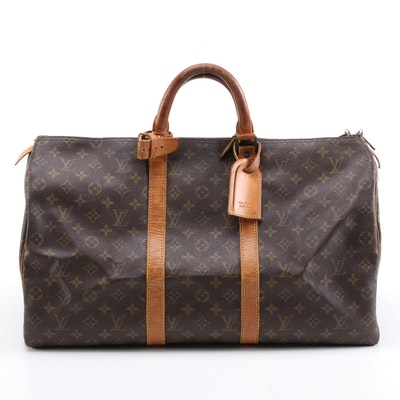 Louis Vuitton Malletier Keepall 50 Travel Duffel in Monogram Canvas