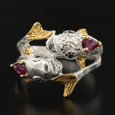 Sterling Silver Rhodolite Garnet and Sapphire Dolphin Ring