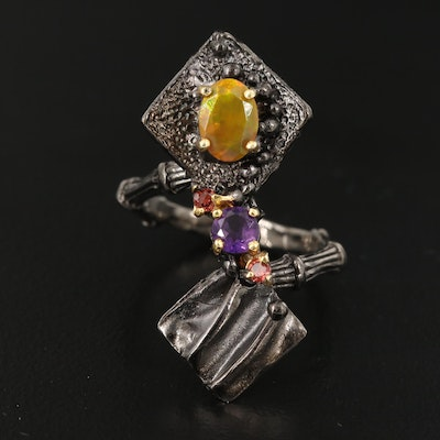 Sterling Silver Opal, Amethyst and Tourmaline Ring