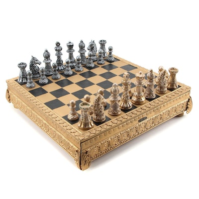 Polyresin Baroque Chess Set with 2 Drawers