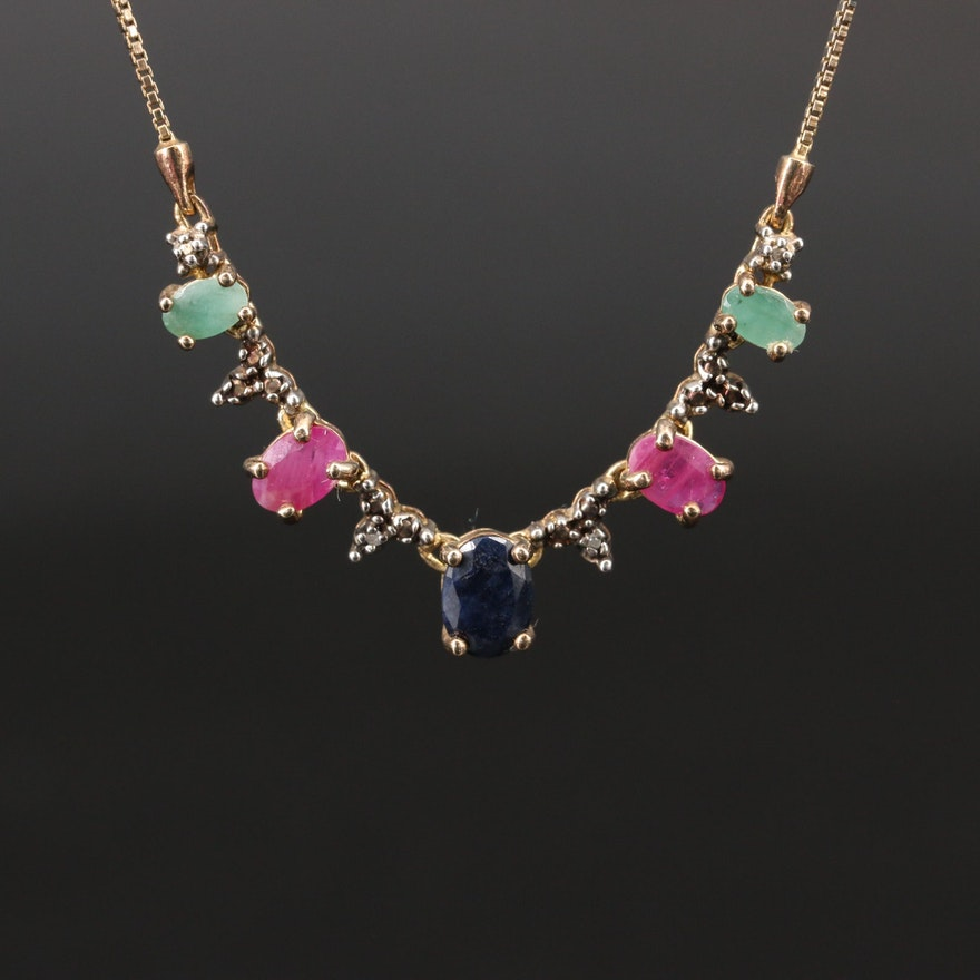 Sterling Silver Emerald, Ruby and Sapphire Necklace