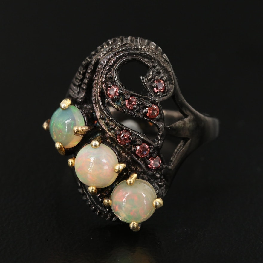Sterling Silver Opal and Garnet Ring with Swirl Design