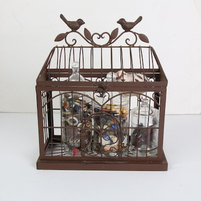 Button Collection in Cage with Glass Apothecary Jars
