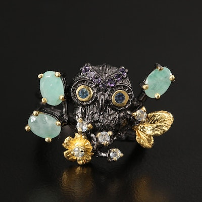 Oxidized Sterling Silver Beryl, Topaz and Amethyst Owl Motif Ring