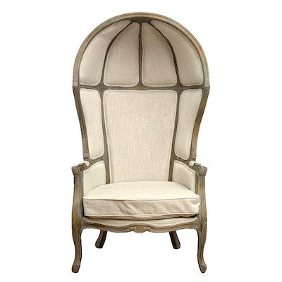 Louis XV Style Linen-Upholstered Bergere Oiseaux