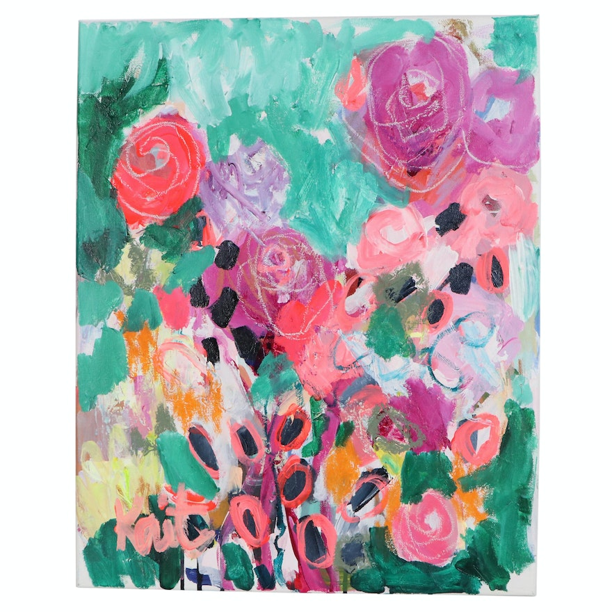 """Kait Roberts Abstract Floral Acrylic Painting """"I Go With You"""", 2020"""