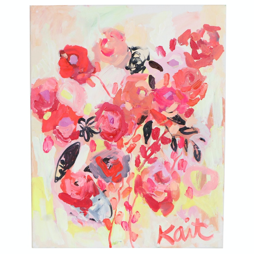 """Kait Roberts Abstract Floral Acrylic Painting """"Burnin Love"""""""