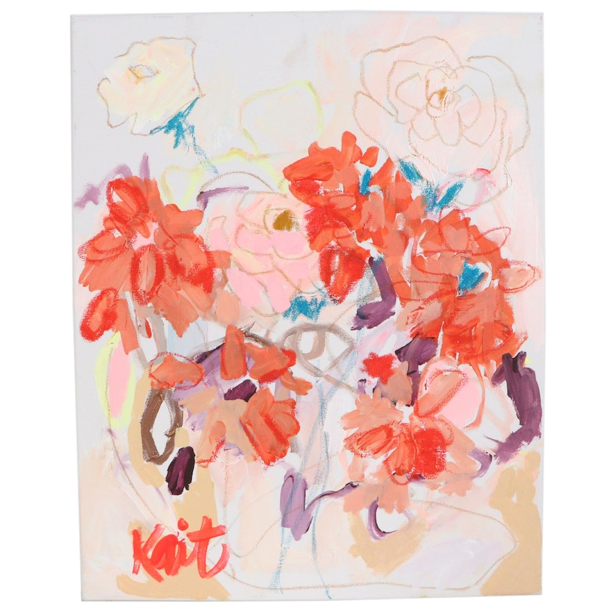 """Kait Roberts Abstract Floral Acrylic Painting """"Don't Betray Yourself"""", 2020"""