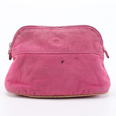 Hermès Bolide Travel Accessory Pouch in Pink Cotton Canvas