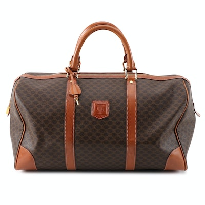 Celine Brown Macadam Coated Canvas and Leather Trim Travel Bag