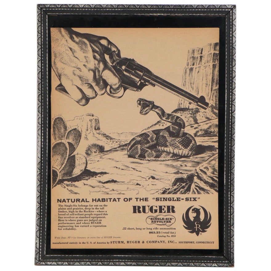 """Ruger """"Single-Six"""" Revolver Advertisement Page, circa 1957"""