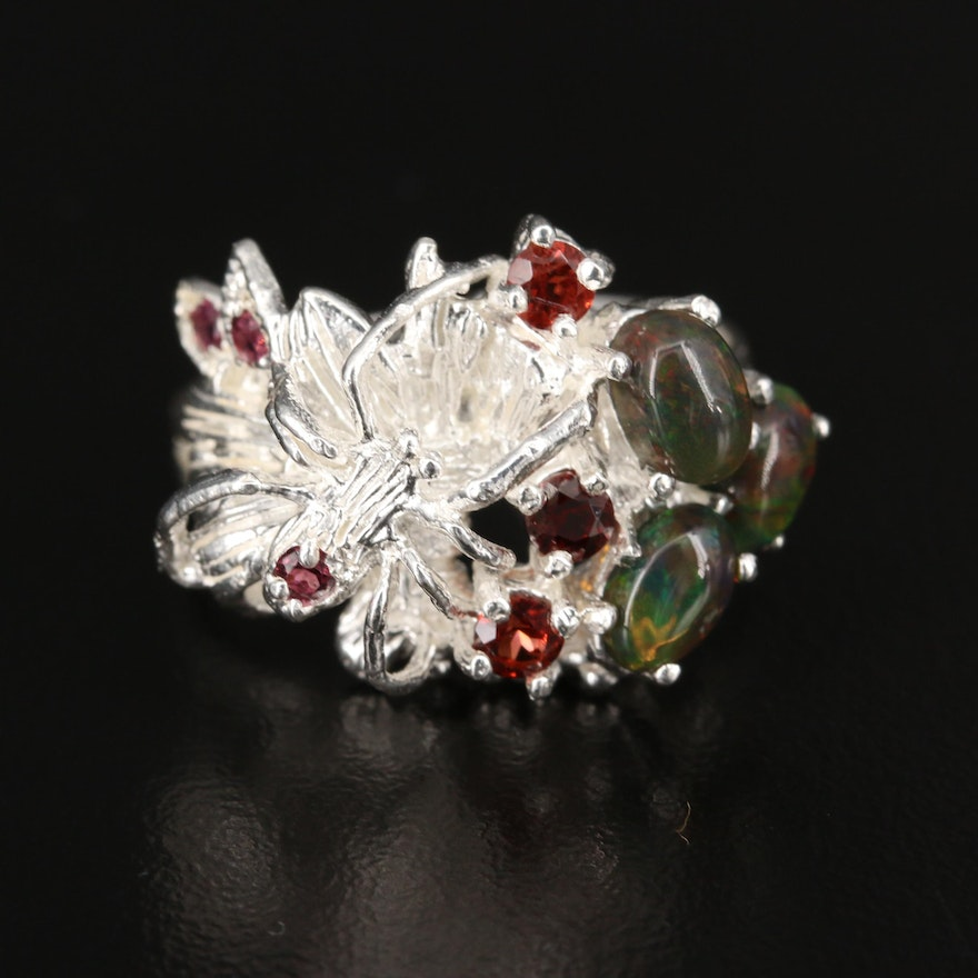 Sterling Silver Opal and Garnet Spider Ring