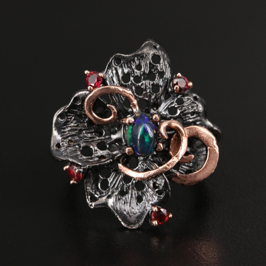 Sterling Silver Opal and Rhodolite Garnet Ring