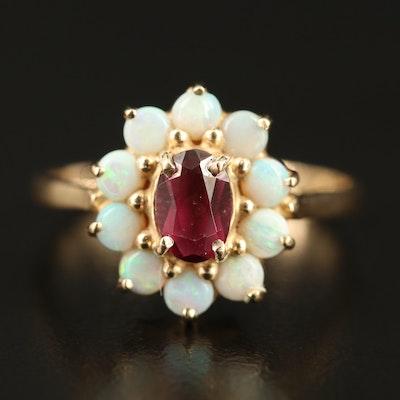 14K Rhodolite Garnet and Opal Halo Ring