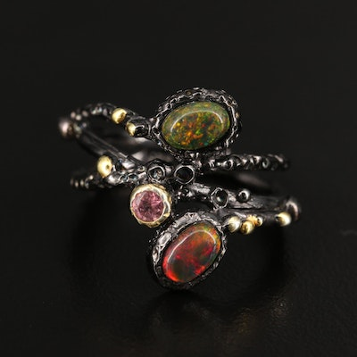 Sterling Silver Opal and Tourmaline Ring