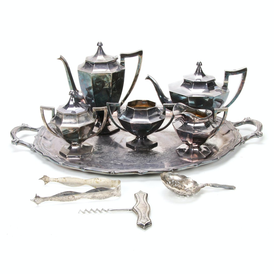 Silver Plate Tea Service and Other Accessories