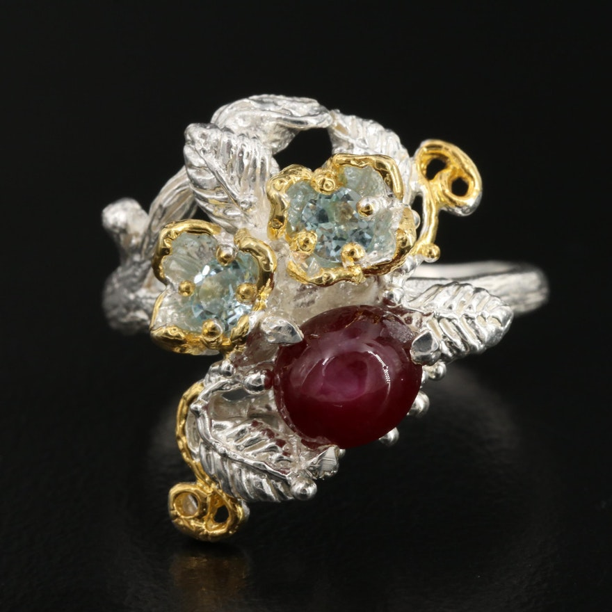 Topaz and Corundum Floral Ring in Sterling