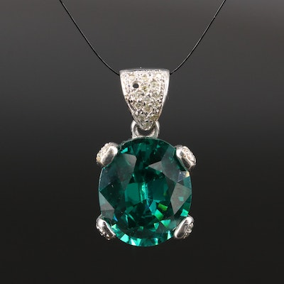 14K Cubic Zirconia and Diamond Pendant