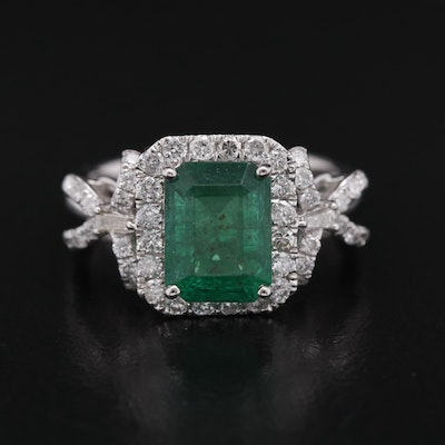Platinum and 2.58 CT Emerald Ring with Diamond Halo and Bow Accents