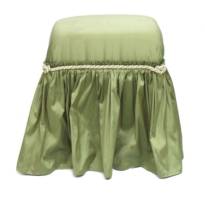 Raw Silk Square Vanity Stool with Full Length Dust Ruffle and Cord Trim
