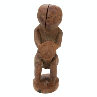 Central African Wooden Figure with Drum