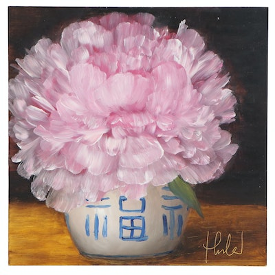 "Thuthuy Tran Oil Painting ""Peony in Late June"", 2020"