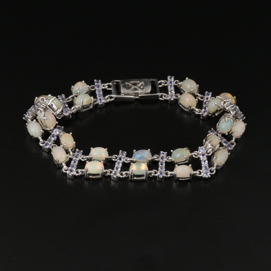 Sterling Silver Opal and Tanzanite Link Bracelet