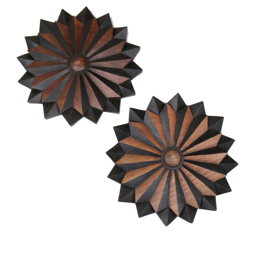 Pair of Carved Floral Walnut Wall Starbursts, Contemporary