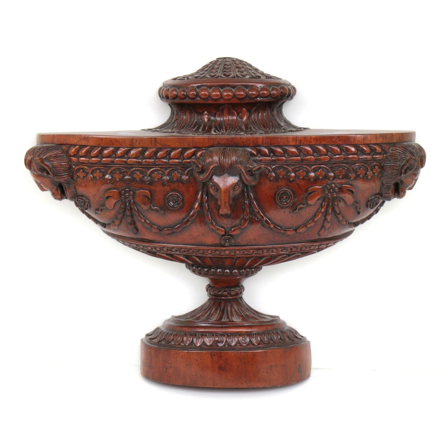 Neoclassical Style Carved Walnut Half Urn, 20th Century