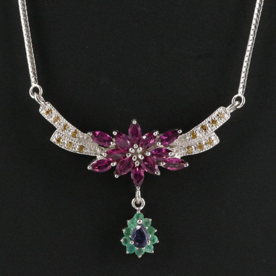 Sterling Silver Garnet, Emerald and Iolite Stationary Pendant Necklace
