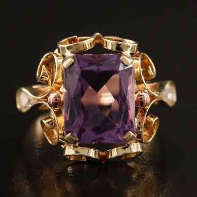 14K Amethyst and Diamond Openwork Scroll Motif Ring