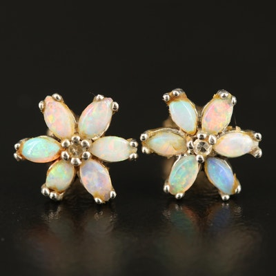 14K Opal and Diamond Flower Stud Earrings