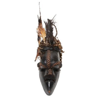 Salampasu Inspired Carved Wood and Embellished Mask, Cameroon