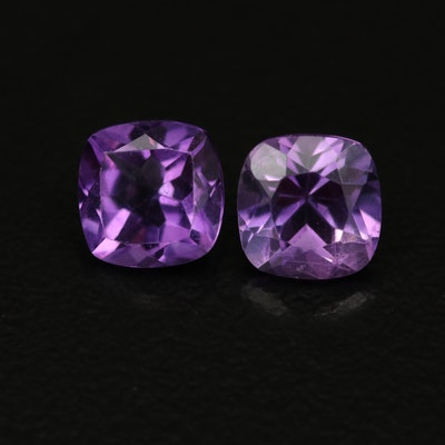 Matched Pair of Loose 1.92 CTW Square Cushion Faceted Amethysts
