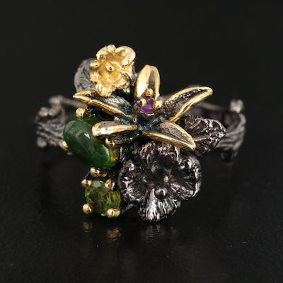 Sterling Silver Opal, Amethyst and Peridot Flower Bouquet Ring