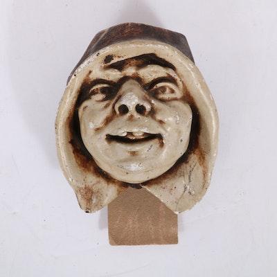 Ceramic Monk's Head Wall Hanging Matchstick Holder