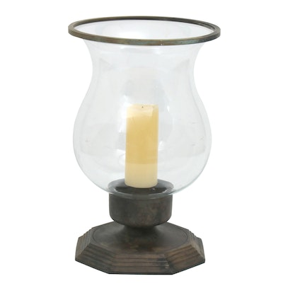 Antiqued Brass and Glass Candle Hurricane, 21st Century