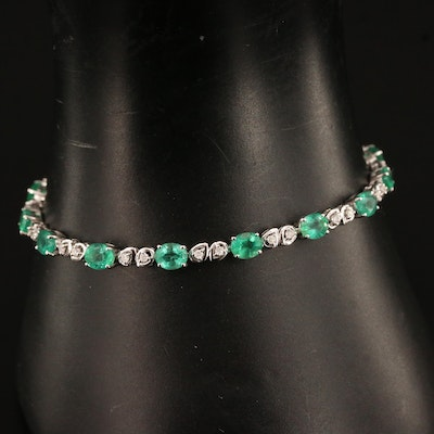 14K 5.06 CTW Emerald and Diamond Line Bracelet