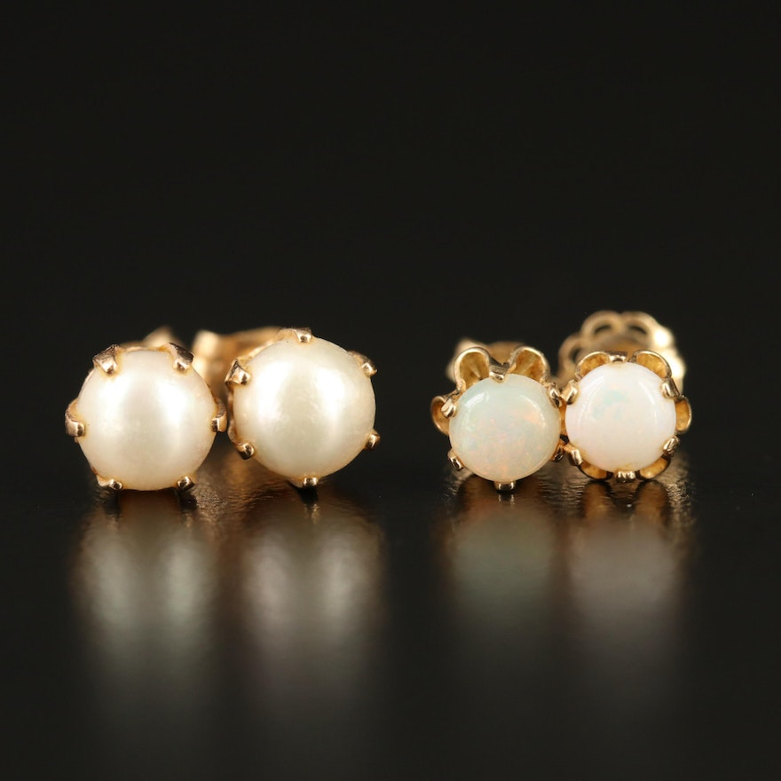 14K Opal and Pearl Stud Earrings