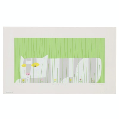 "Edie Harper Serigraph of Cat ""Spring Creeper"", 1980"