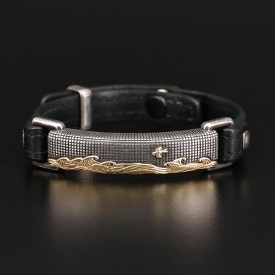 "David Yurman ""Waves Collection"" Sterling and Leather Bracelet with 18K Accents"
