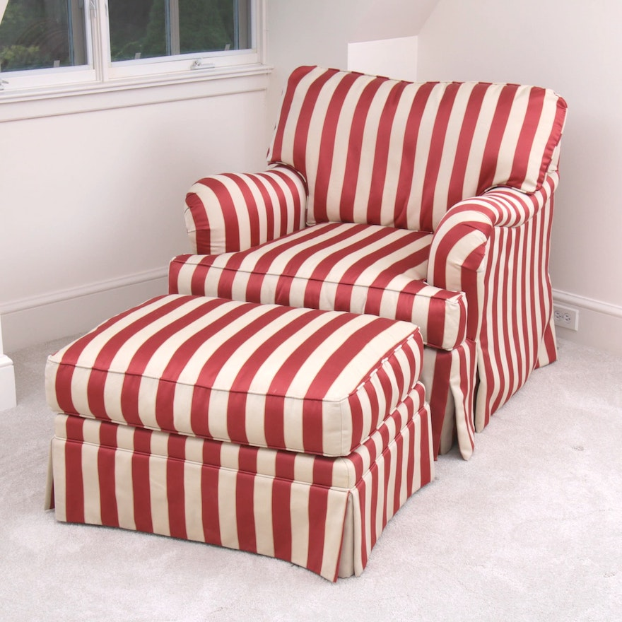 Century Furniture Striped Fabric Club Chair with Ottoman