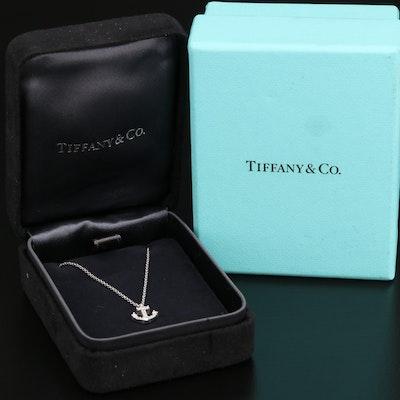 Tiffany & Co. 18K Diamond Anchor Necklace