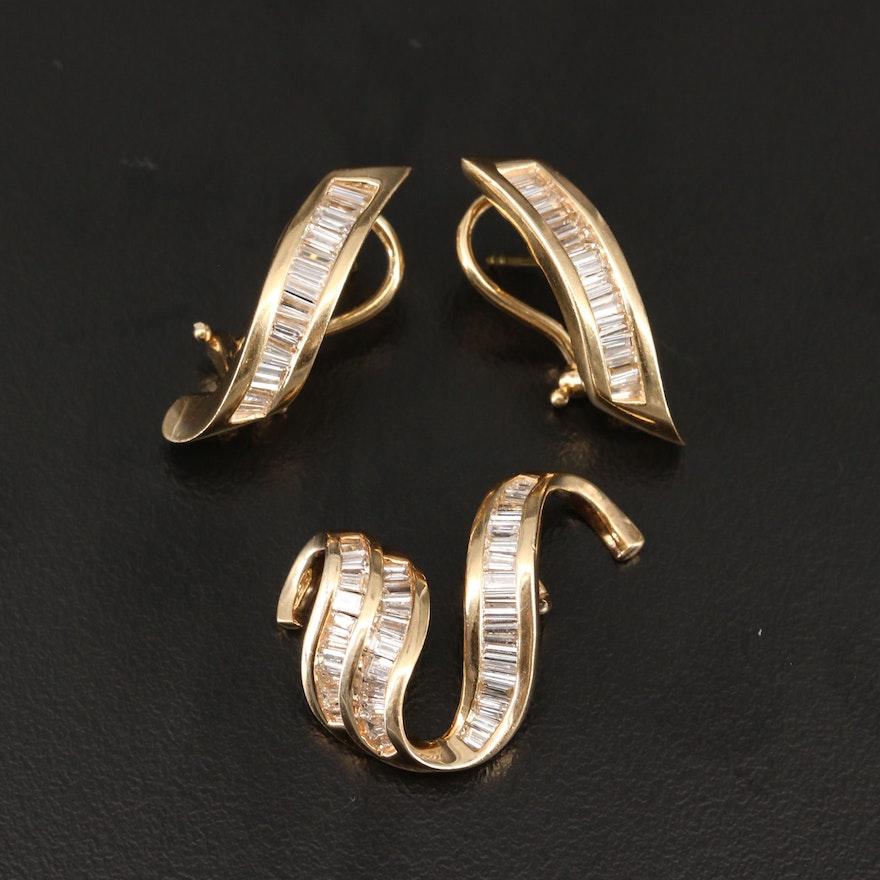 14K 1.94 CTW Diamond Slide Pendant and Earrings