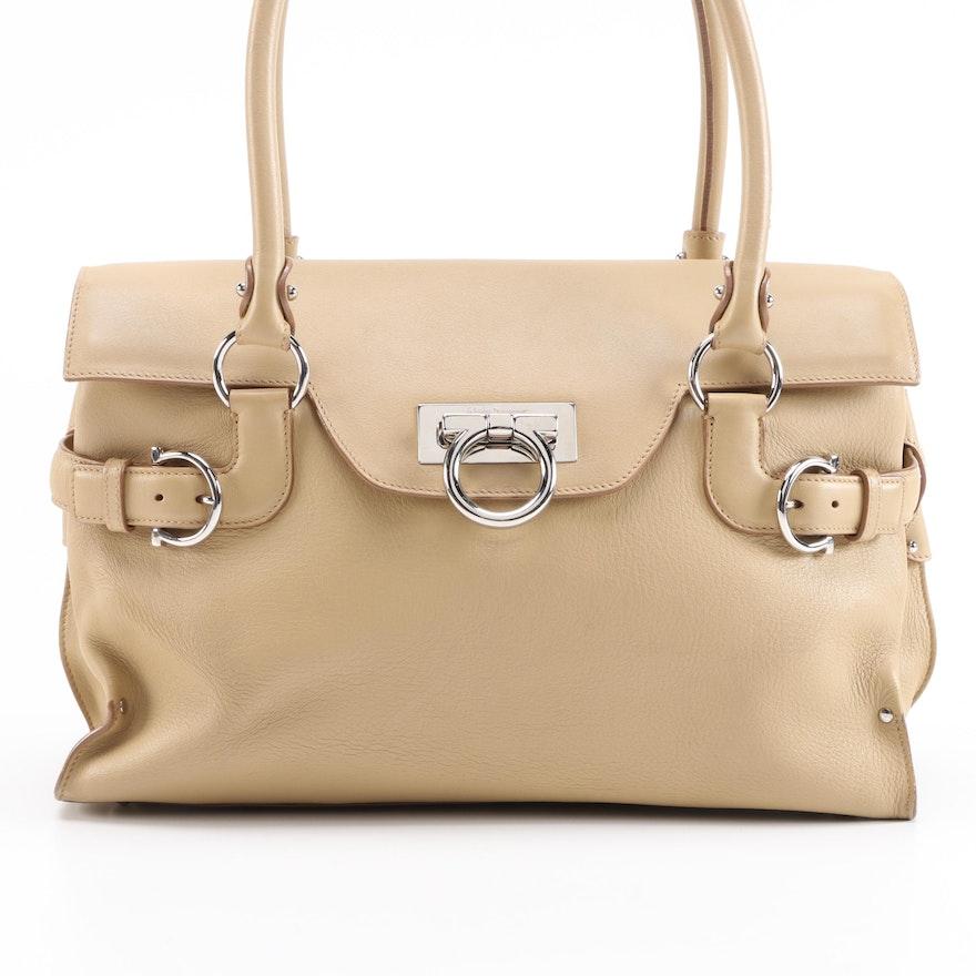 Salvatore Ferragamo Gancini Beige Leather Shoulder Bag
