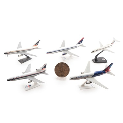 Delta Airlines Aviation Collectibles, Model Planes and 1978 Bronze Medallion
