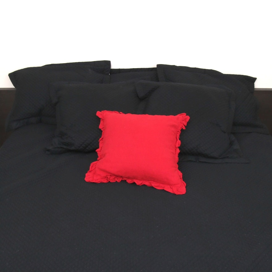 Ralph Lauren California King Quilted Duvet with Pillowcases and Accent Pillows