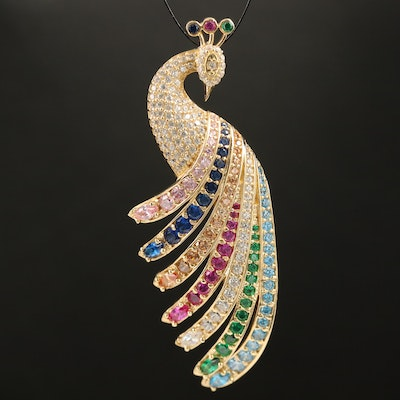 14K Gold Ruby, Sapphire and Cubic Zirconia Peacock Pendant
