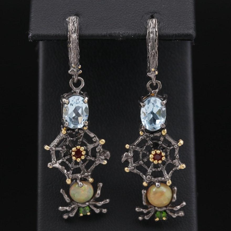 Sterling Silver Opal, Topaz and Garnet Spider Dangle Earrings