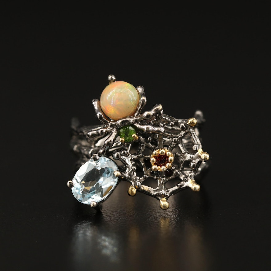 Sterling Silver Spider Motif Ring Opal, Topaz and Diopside Ring